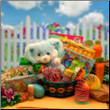 Bunny Hugs Easter Basket - Blue