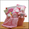 Comfy & Cozy Safari Friends New Baby Gift Basket - Pink
