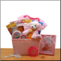 Puppy Love New Baby Gift Basket - Pink