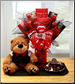 You're My Hearts Desire Chocolate Valentine Bouquet with Tuxedo Bear