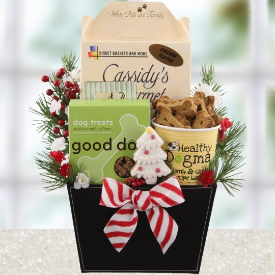 Dog Christmas Holiday Gift Baskets, Free Ground Shipping