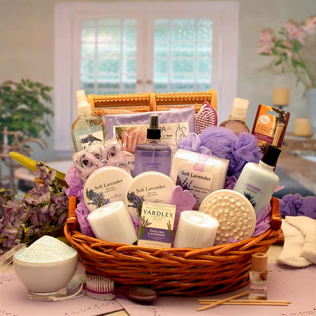 Spa, Bath & Beauty Gift Baskets, Lavender Essence Spa Gift Basket