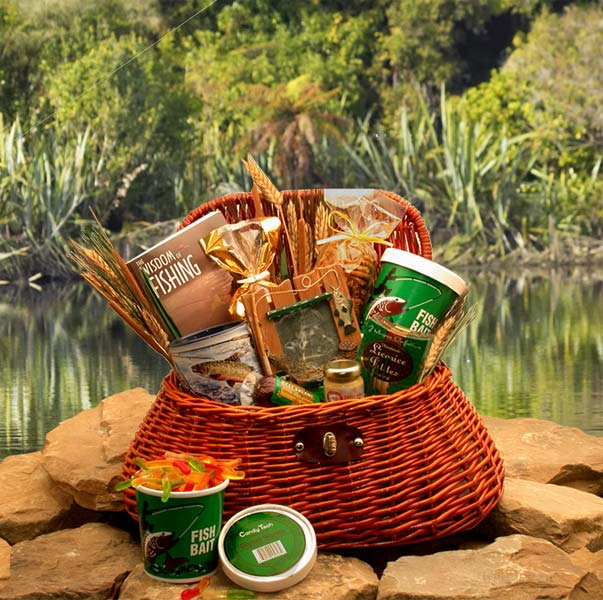 Summer Gift Baskets, Fisherman's Fishing Creel Gift Package